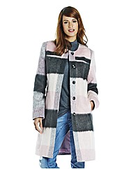 Ava By Mark Heyes Collarless Check Coat