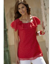 Frill Neck Blouse with Corsage