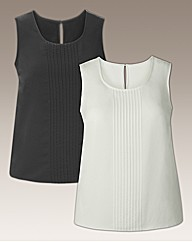 Pack of 2 Vests With Pleat Front