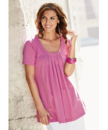 Swing Style Jersey Top with Pleat Front