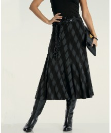 Print Panelled Jersey Skirt & Belt 27in