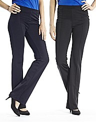 Pack of Two Bootcut Trousers Length 26in