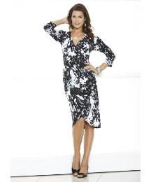 Mock Wrap Dress Print Length 45in