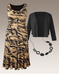 Print Dress and Shrug Set 41in