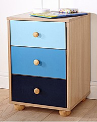 Colourway Three Draw Bedside Table Blue