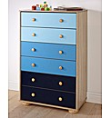 Colourway Chest of Six Drawers - Blue