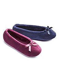 Pack 2 Pairs Slippers Terry Ballerinas