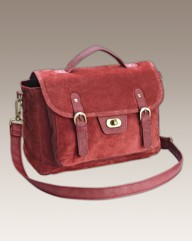 Suede Satchel Bag
