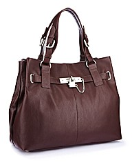 Leather Handbag with Padlock Detail