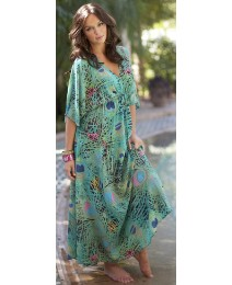 Peacock Maxi Dress-Length 52in