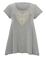 Crochet Heart Swing Hem Jersey Top