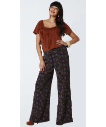 Angel Ribbons Print Palazzo Trousers