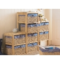 Gingham Trim Rattan Storage