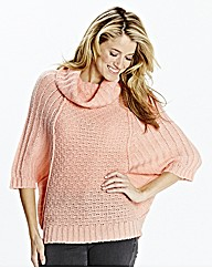 Textured Roll Neck Poncho