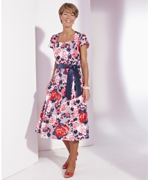 Cotton Sateen Printed Dress Length 43in