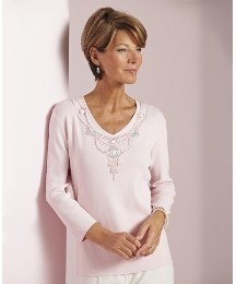 V-Neck Beaded Jumper With 3/4 Sleeves
