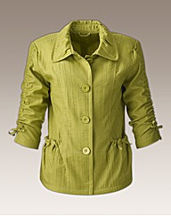 Soft Pleated 3/4 Sleeve Swing Jacket