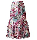 Floral Print Chiffon Skirt Length 32in