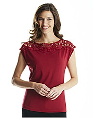 Lace Neckline Top