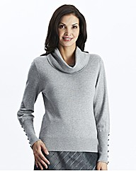 Cowl Neck Sweater With Button Trim
