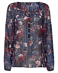 Taifun Floral And Check Blouse