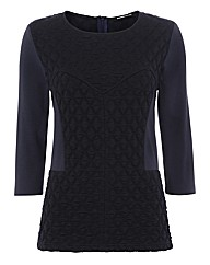 Frank Walder Quilted 3/4 Sleeve Top