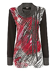 Gelco Printed Cowl Neck Top