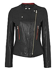 Oui Leather Biker Jacket
