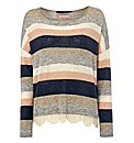 Oui Lace-trim Stripe Jumper