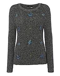 Oui Jewelled Marl-knit Jumper