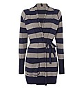 Sandwich Stripe Belted Cotton Cardigan