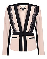 Montique Lace-trim Peplum Jacket