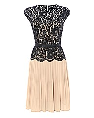 Montique Lace & Pleated Chiffon Dress