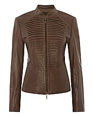 Betty Barclay Pintuck Leather Jacket