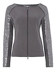 Monari Sequinned Boiled Wool Zip Jacket