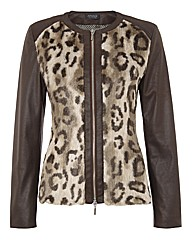 Apanage Leopard-trim Mock Suede Jacket