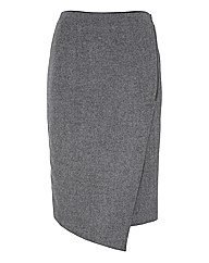 Nougat Flannel Mock Wrap Skirt
