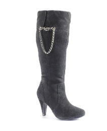 Legroom Chain Detail Suede Boots EEE Fit