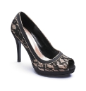 Viva La Diva Lace Peep Toe Shoes D Fit