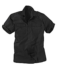 Jacamo Black Military Shirt Xtra Long