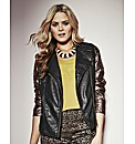 Grazia Metallic Sleeve Biker Jacket
