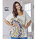 Time Out Feather Print Jersey Top