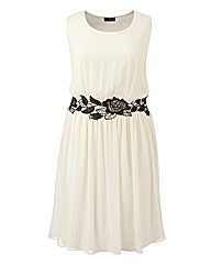Lovedrobe Lace Trim Skater Dress