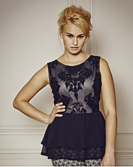 Luxe Embroidered Peplum Top