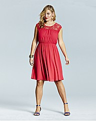 Lovedrobe Lace Yoke Skater Dress