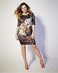Kelly Brook Print Bodycon Dress