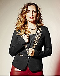 Kelly Brook Ponte Animal Trim Jacket