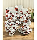 32 Piece Poppy Decal Dinnerware