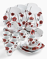 32 Piece Poppy Decal Dinnerware