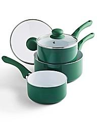 Set Of 3 Ceramic Saucepans Green